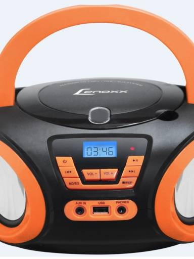 BOOMBOX PRETO/LARANJA C/ USB, RADIO FM, MP3, CD PLAYER E ENTRADA AUX.